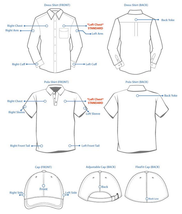 Embroidery Placement Uniform Ready